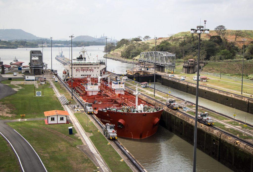 Ship entering Miraflores Locks