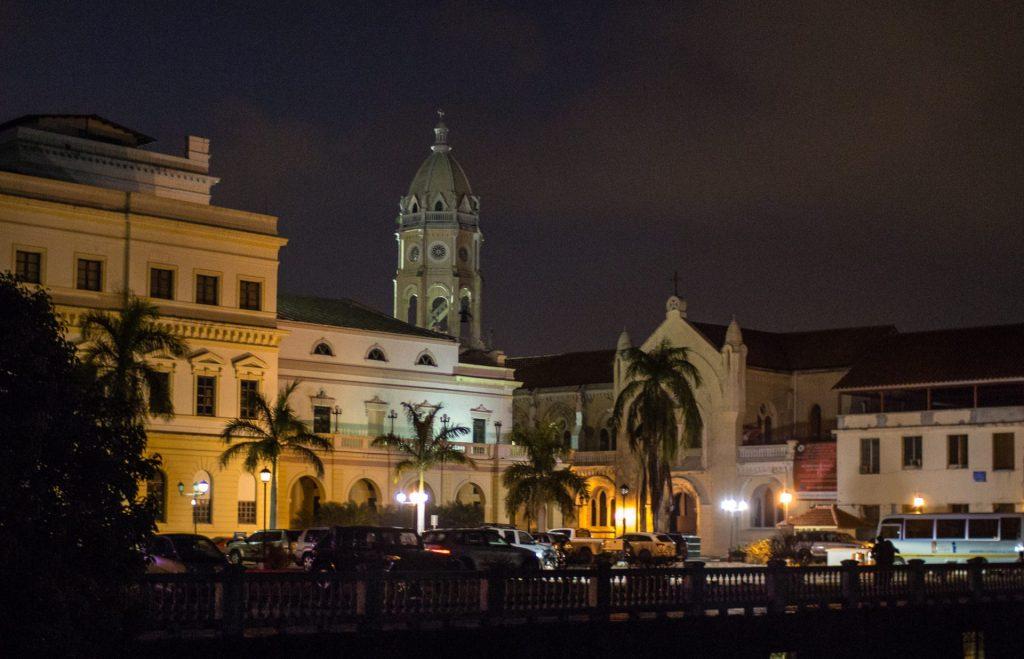 Panama City's Casco Viejo at night