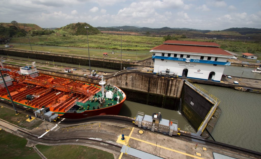 A ship entering MIraflores Locks