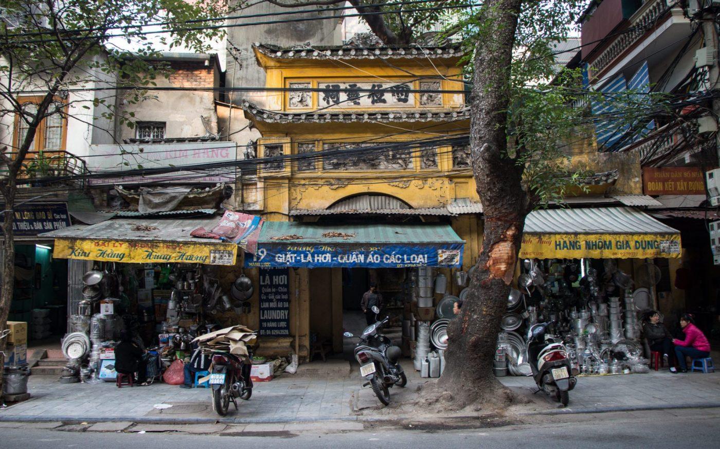 Decadent historic buildings in Hanoi